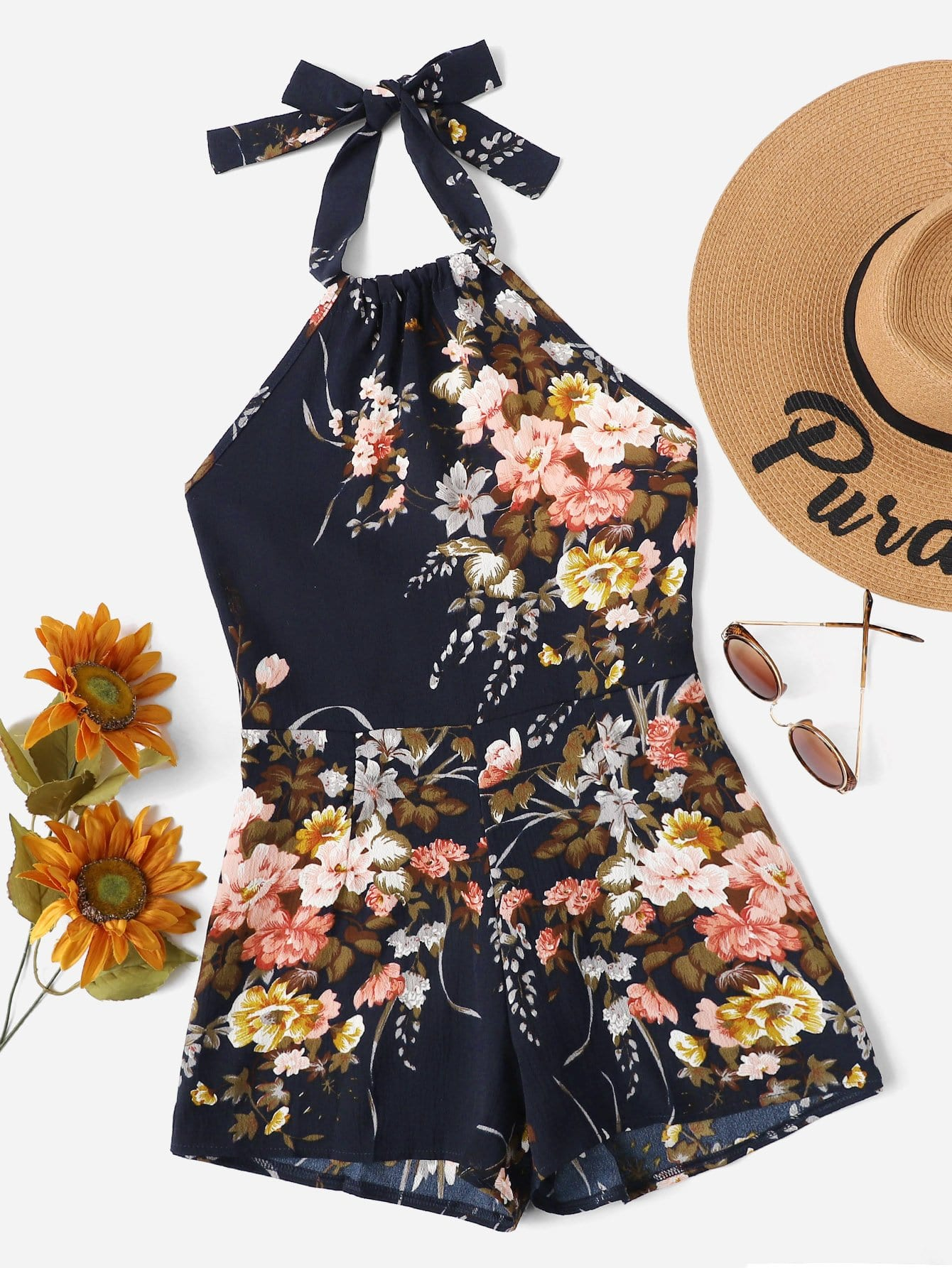 Cut Out Back Floral Print Halter Romper