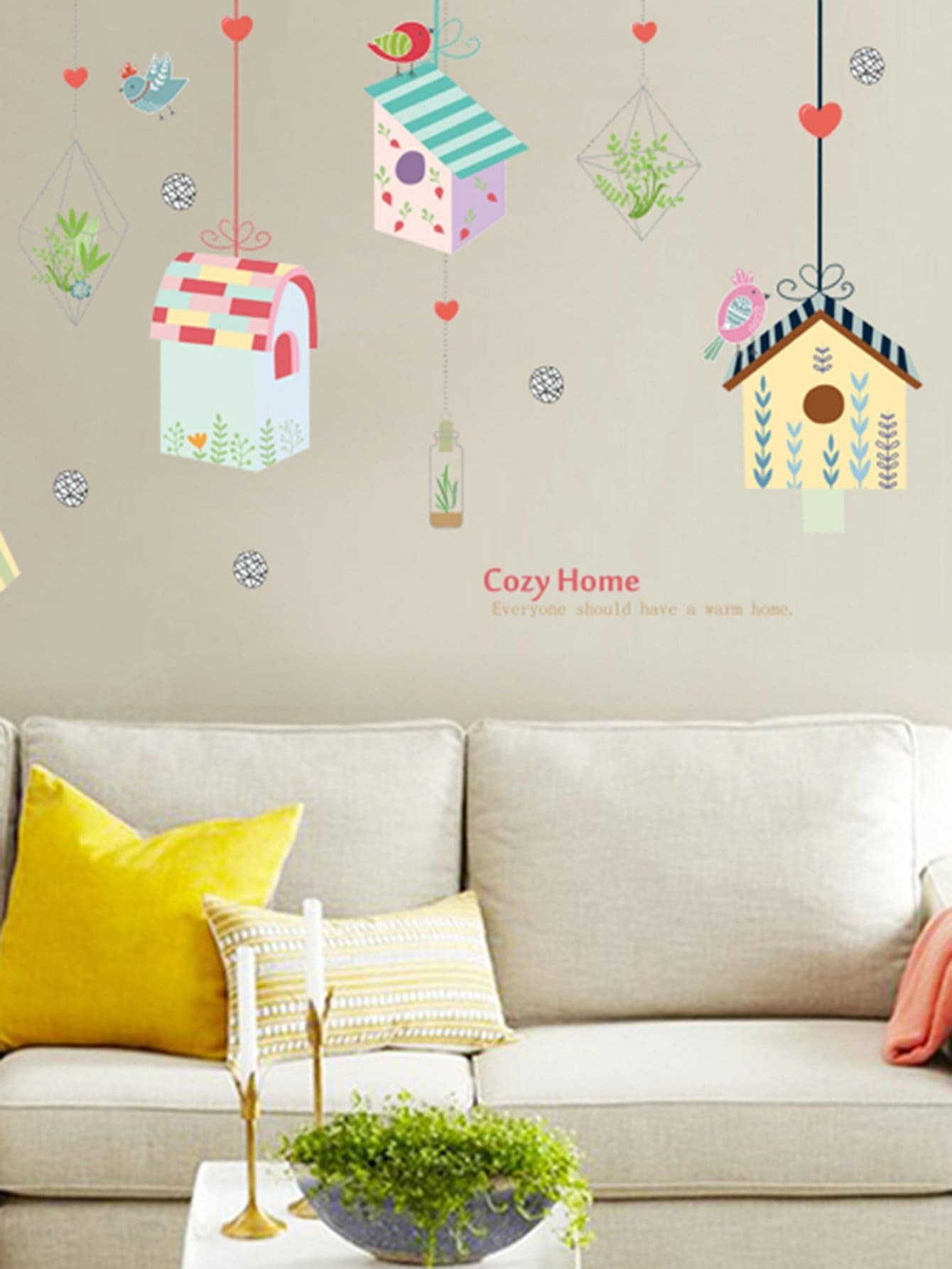 Hanging Birdcage Wall Decal the birdcage