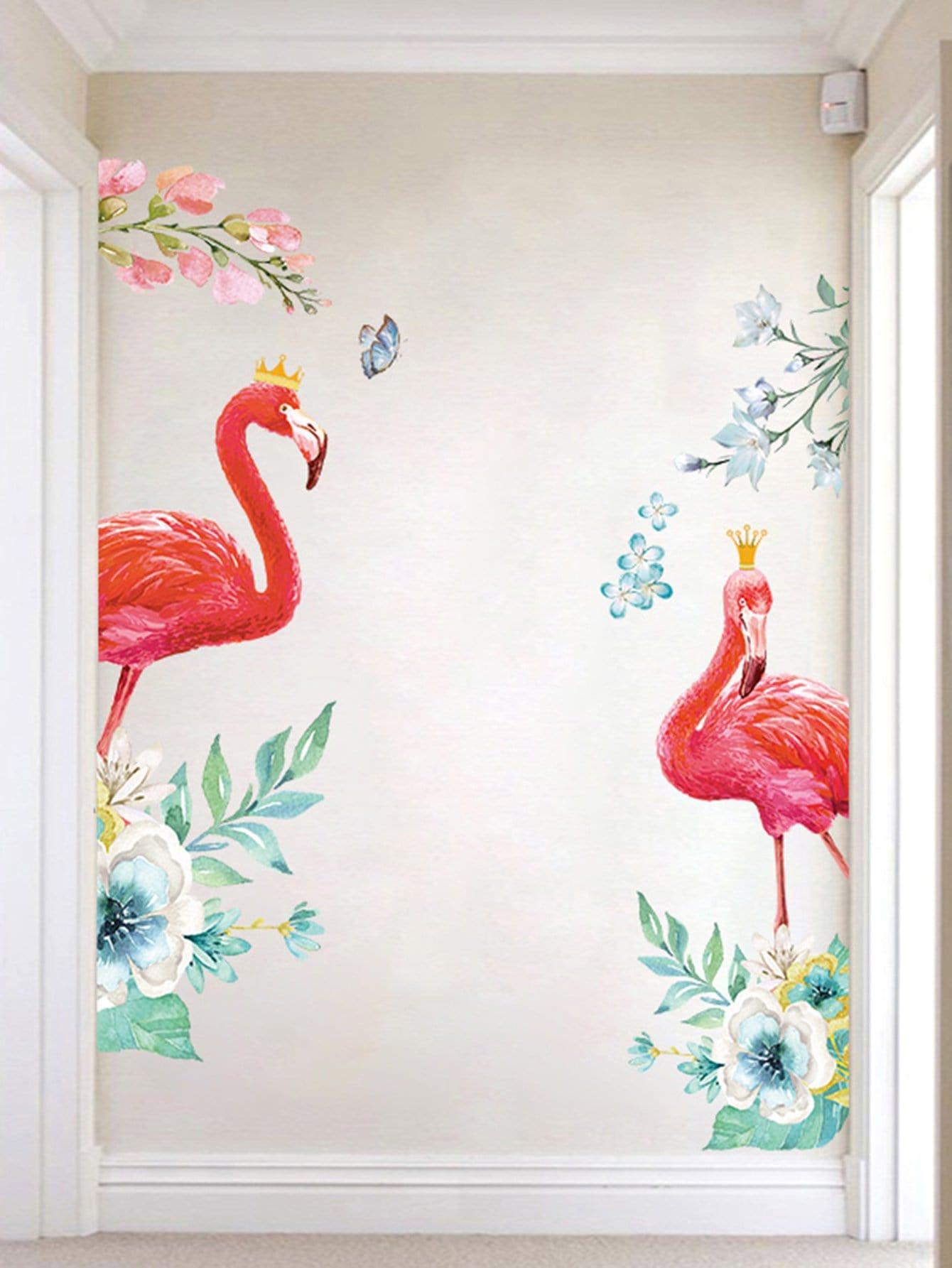 Couple Flamingo Wall Mural flamingo wall mural