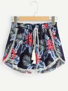 Floral Print Drawstring Waist Shorts