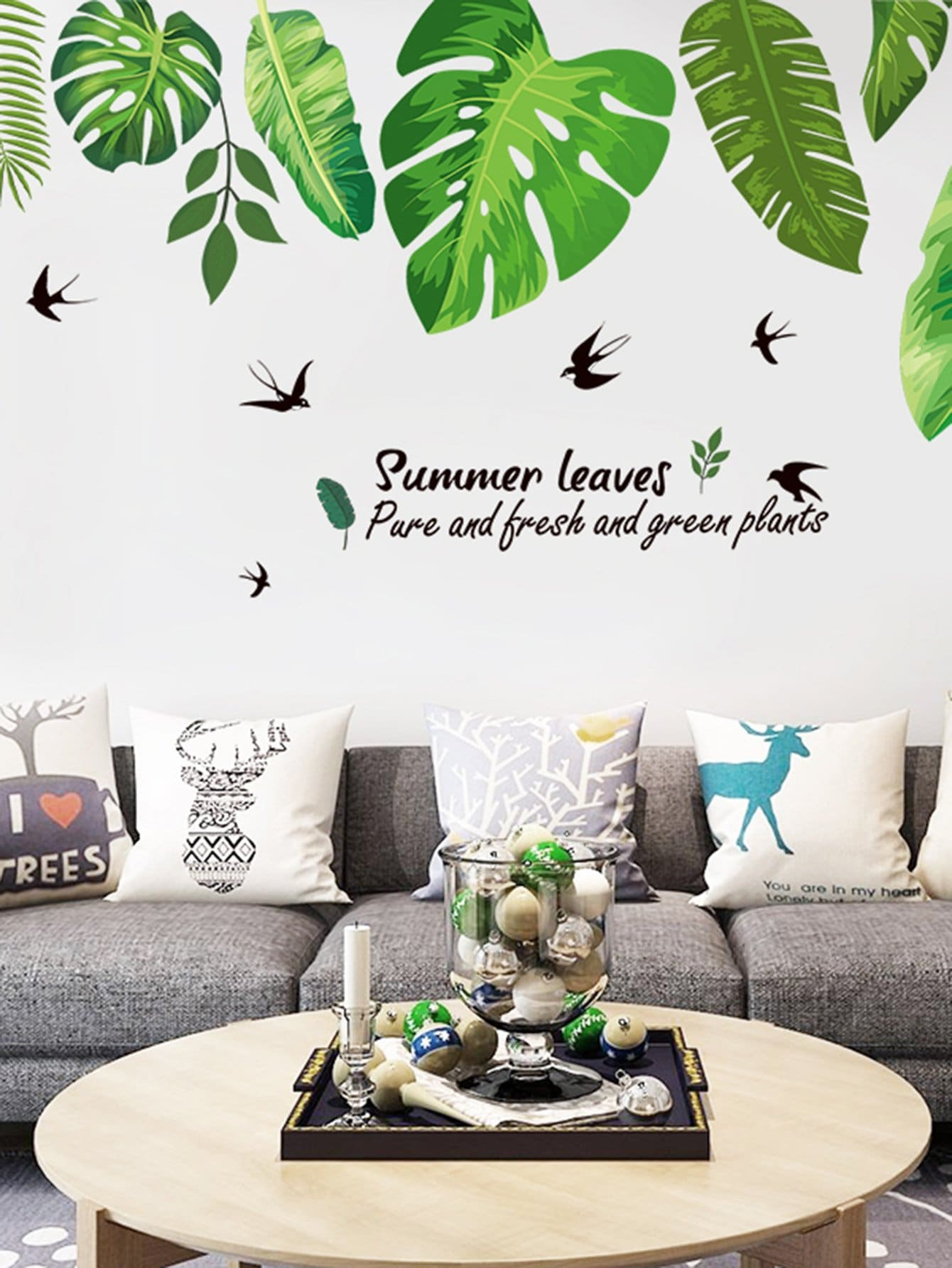 Tropical Leaves Wall Decal tropical leaves print tapestry
