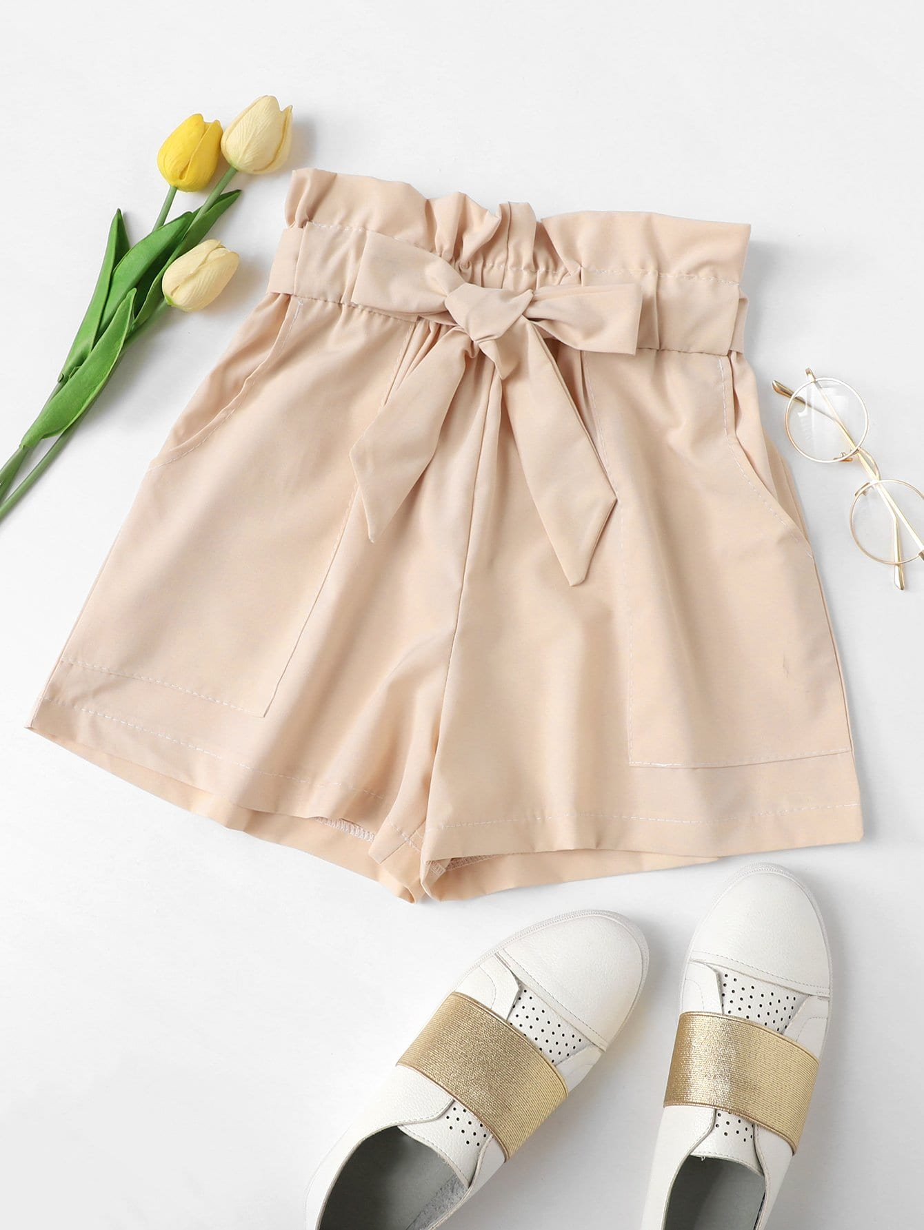 Ruffle Waist Self Tie Shorts
