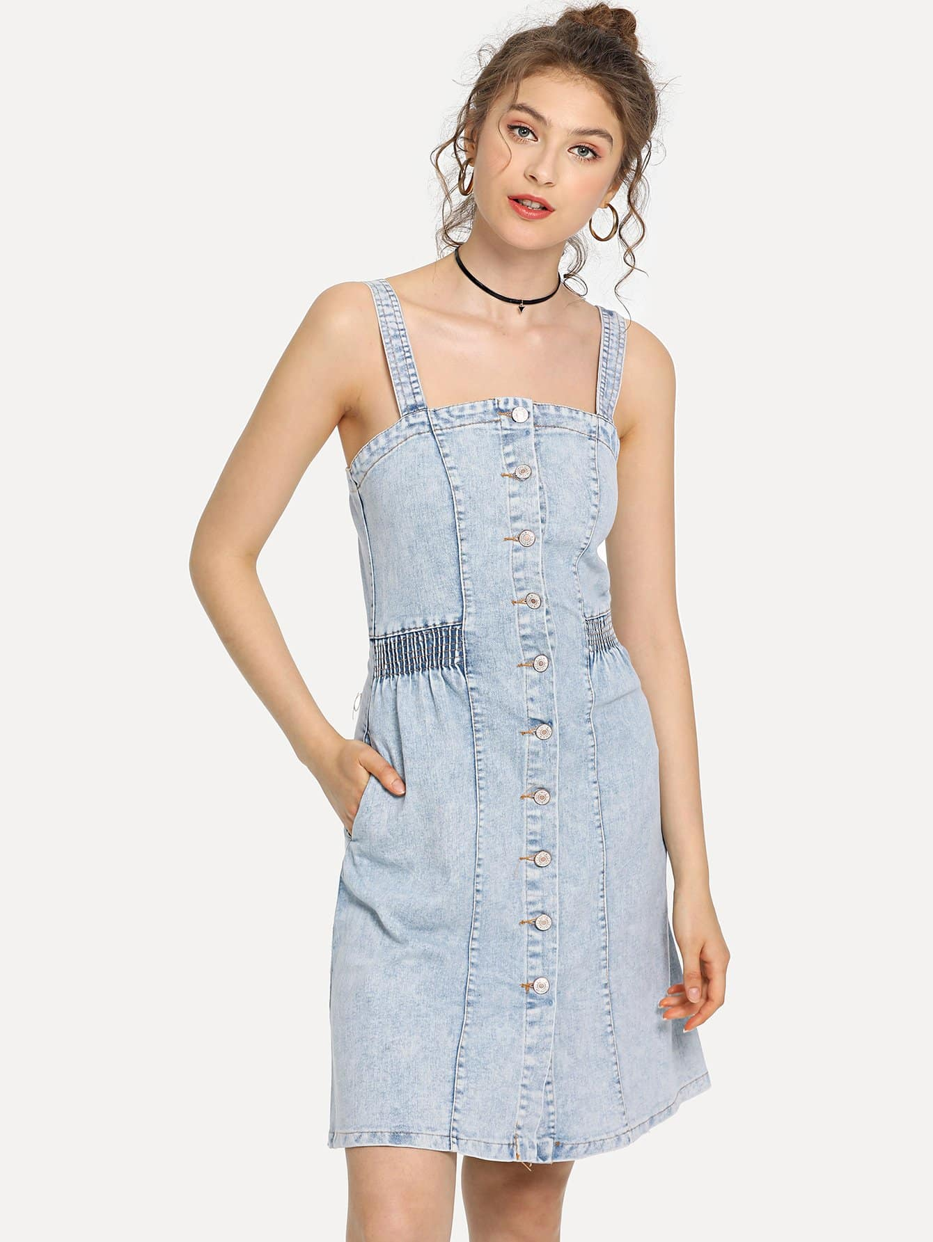 Elastic Waist Button Strappy Denim Dress michael kors очки michael kors 0mk5006 10382557
