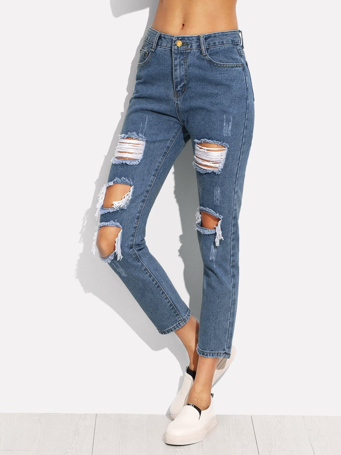 Basic Ripped Jeans basic straight jeans