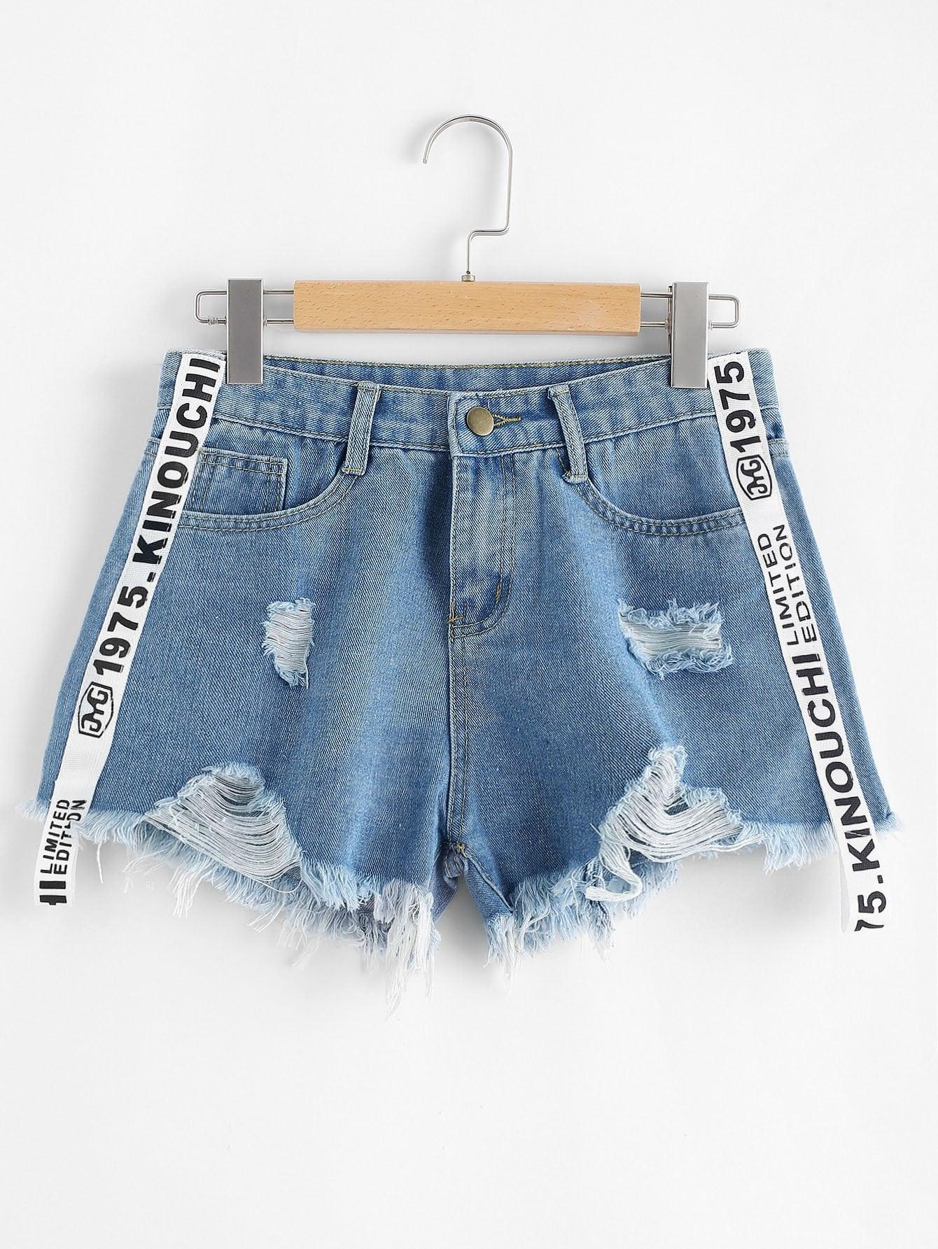 Frayed Hem Ripped Letter Denim Shorts chic pocket design ripped hem denim shorts for women