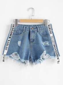 Frayed Hem Ripped Letter Denim Shorts