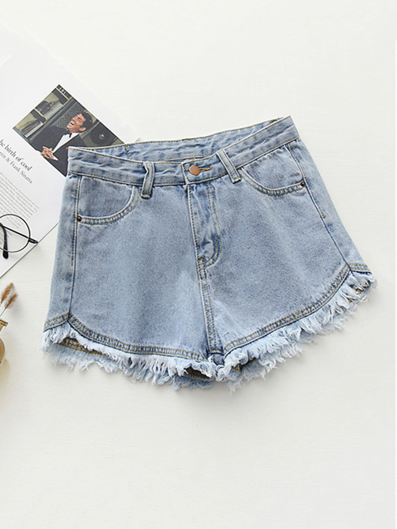 Frayed Hem Denim Shorts chic pocket design broken hole frayed hem denim shorts for women