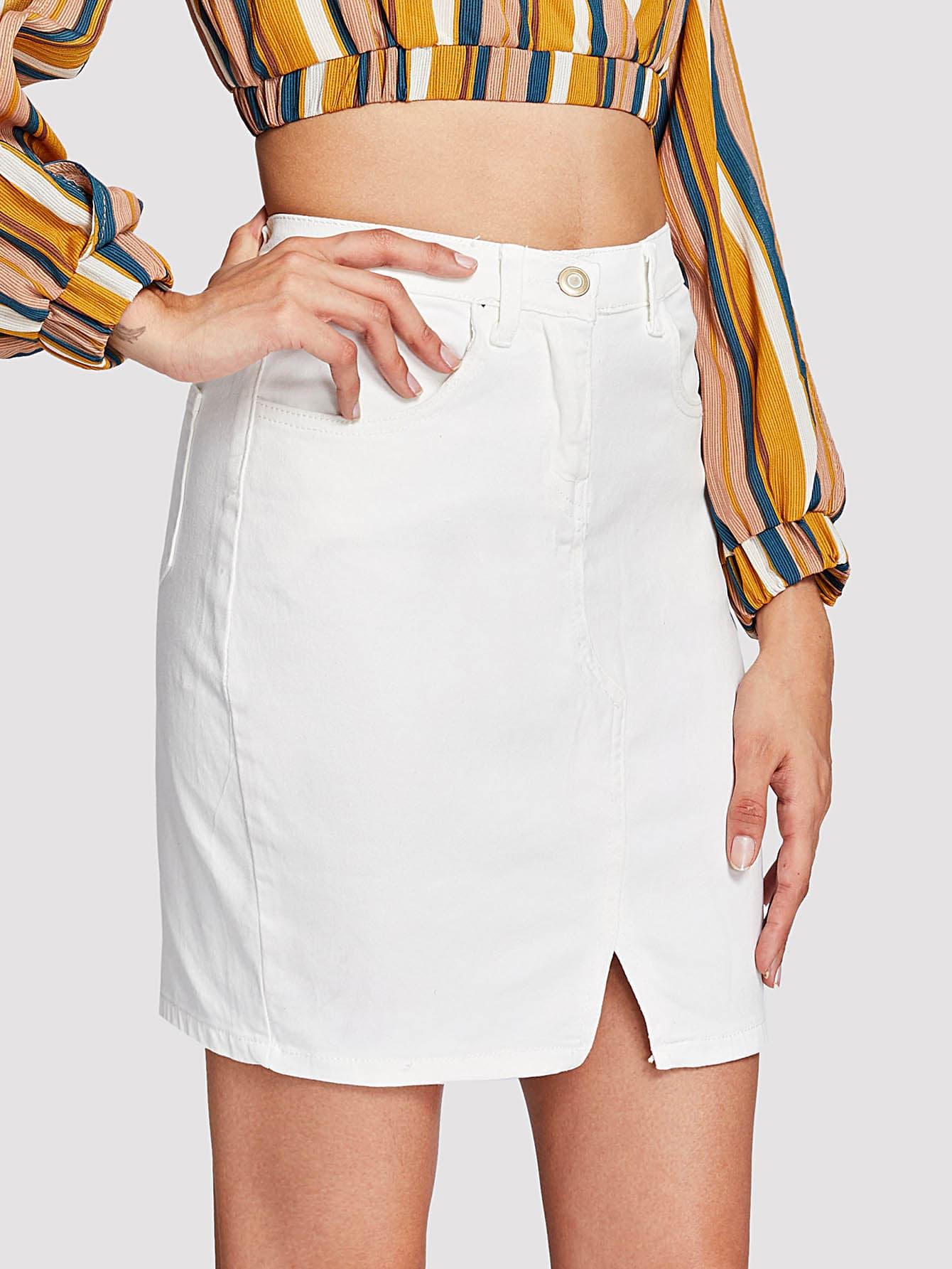Front Split Denim Skirt tribal print split front skirt