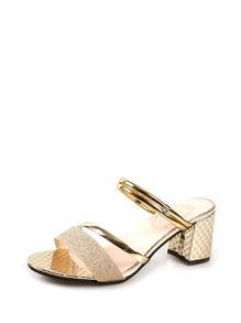 Metallic Convertible Heeled Sandals