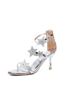 Star Detail Metallic Heels