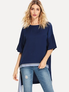 Striped Trim Dip Hem Top