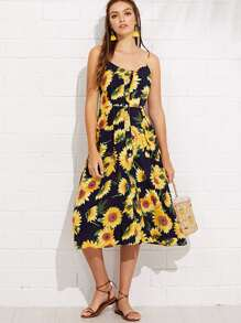 Sunflower Print Pocket Side Button Up Cami Dress