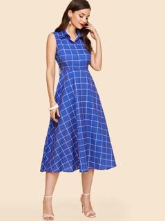 Half Placket Grid Fit & Flare Shirt Dress