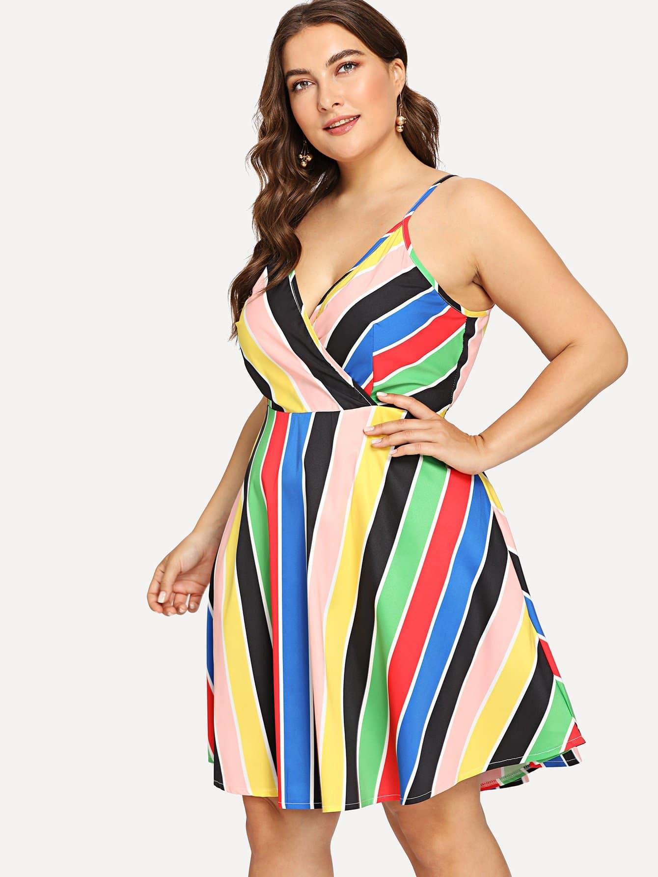 Plus Knot Waist Surplice Wrap Striped Cami Dress one shoulder waist knot split striped dress