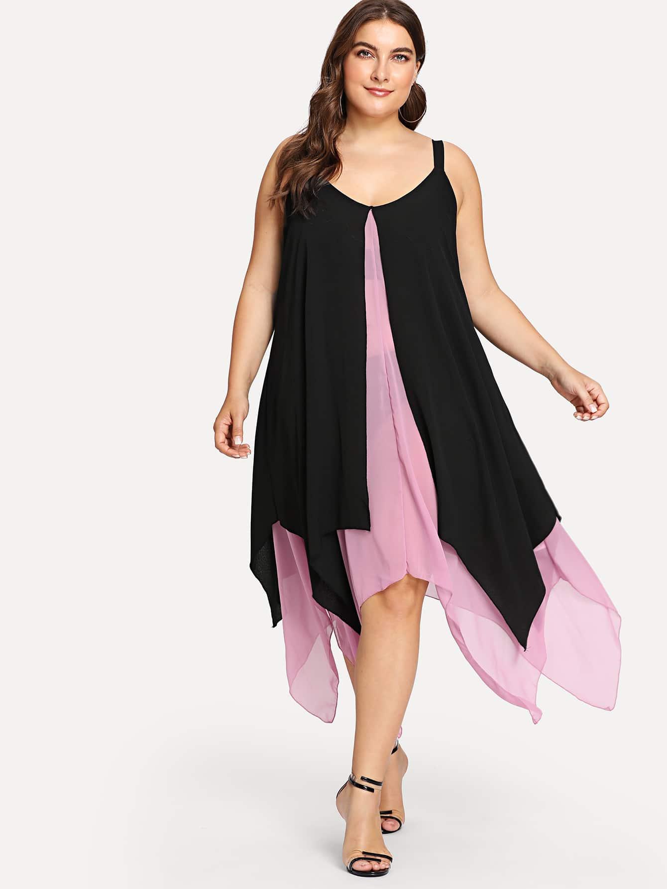 Two Tone Layered Hanky Hem Dress high slit hanky hem metallic halter dress