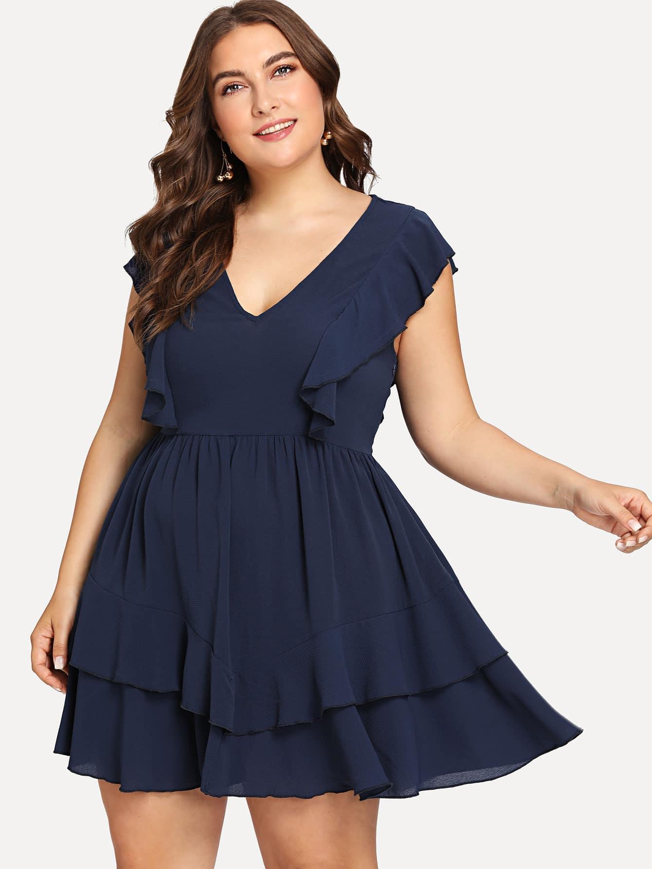 Plus V Neck Tiered Ruffle Hem Dress wrap front tied v back ruffle hem dress