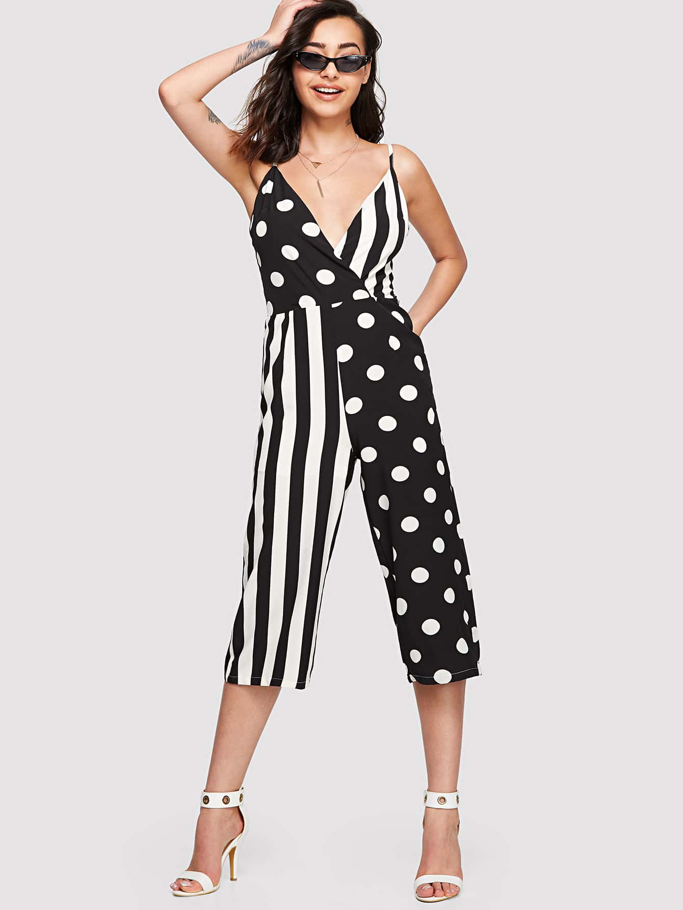 Stripe And Polka Dot Print Wrap Cami Jumpsuit flamingo print wrap jumpsuit