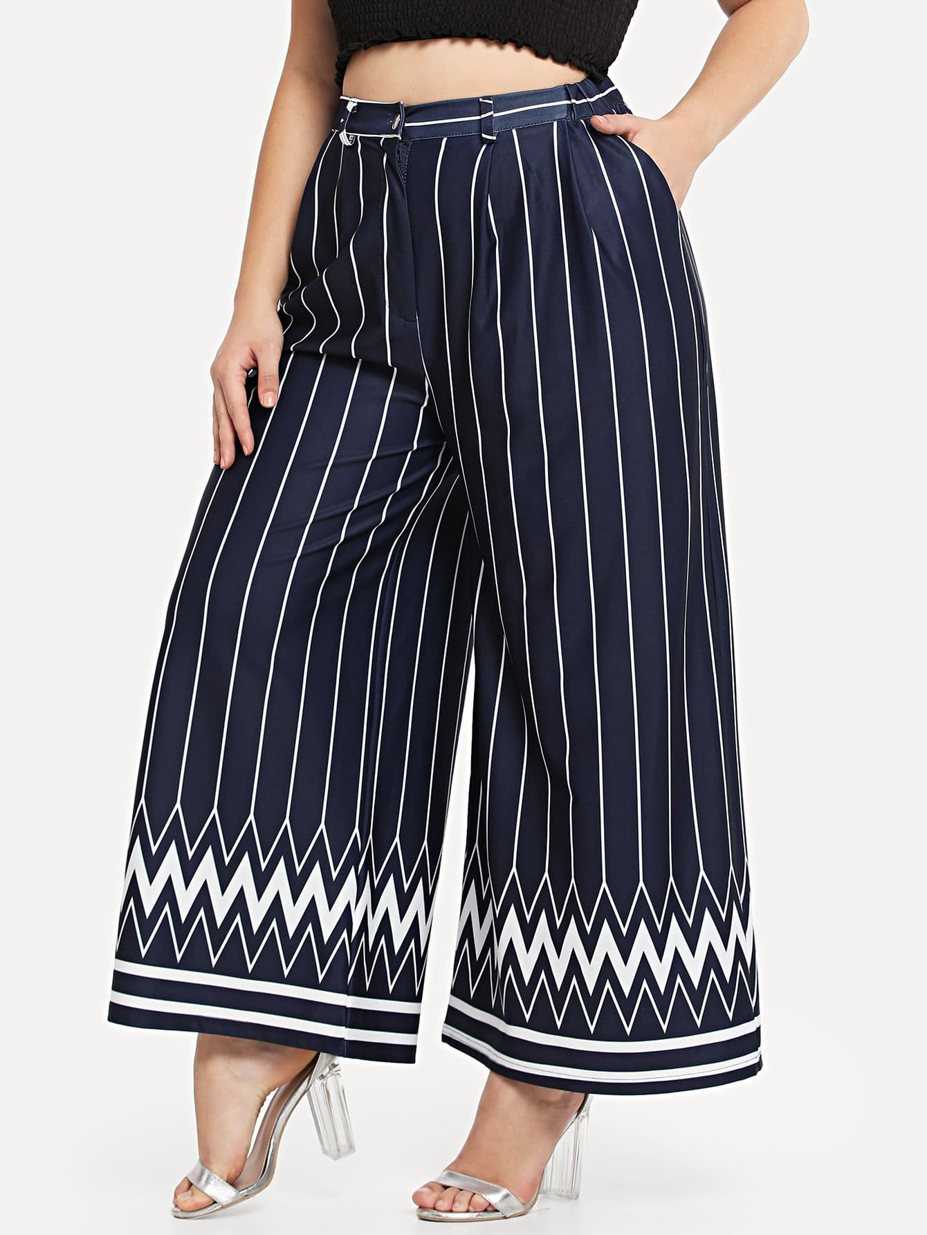 Striped & Chevron Print Wide Leg Pants все цены