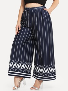 Striped & Chevron Print Wide Leg Pants