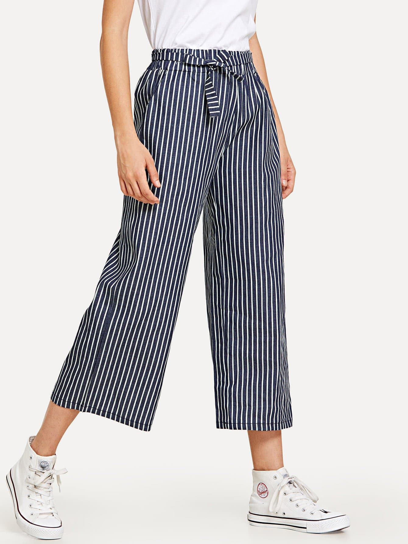 Tie Waist Stripe Wide Leg Pants bow tie side wide leg pants