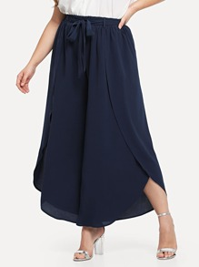 Self Belted Solid Wide Leg Pants