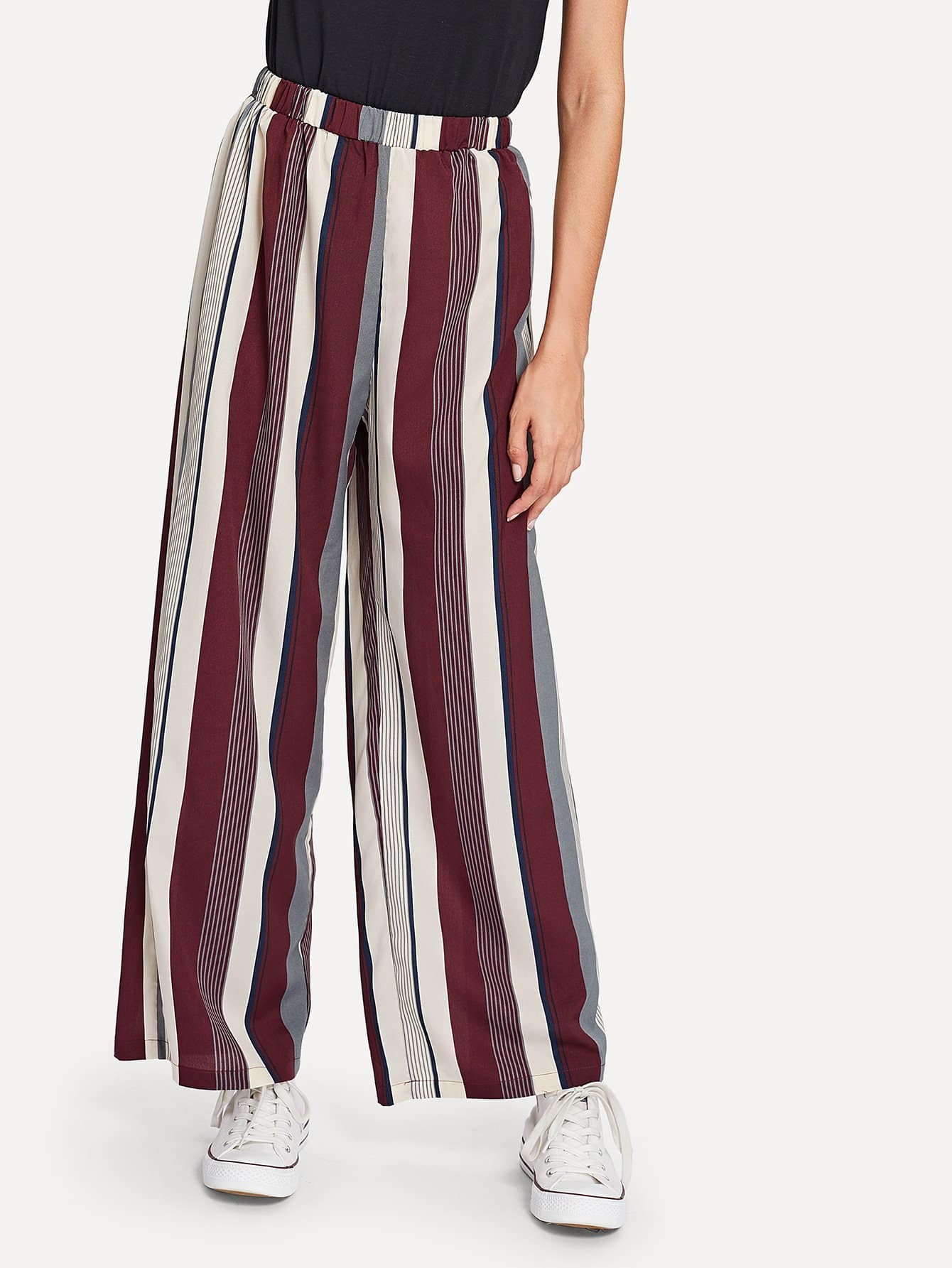 Elastic Waist Striped Wide Leg Pants elastic ruched waist wide leg pants