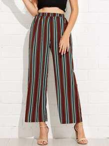 Elastic Waist Striped Wide Leg Pants