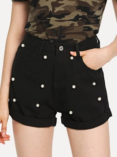 Pearl Embellished Roll Up Hem Denim Shorts