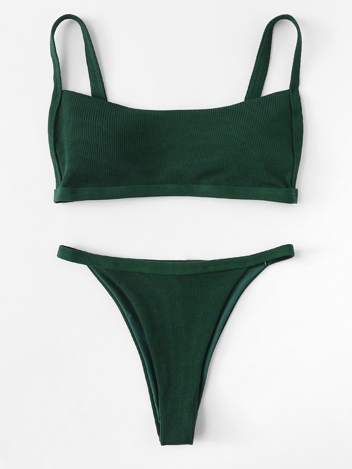 Фото Rib Cami Bikini Set checker knot bikini set