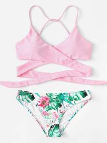 Crisscross Tropical Print Bikini Set