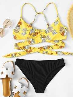 Crisscross Tropical Print Top With Bikini Set