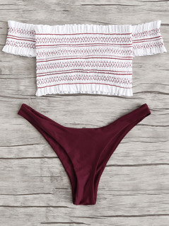 Shirred Off Shoulder Bikini Set