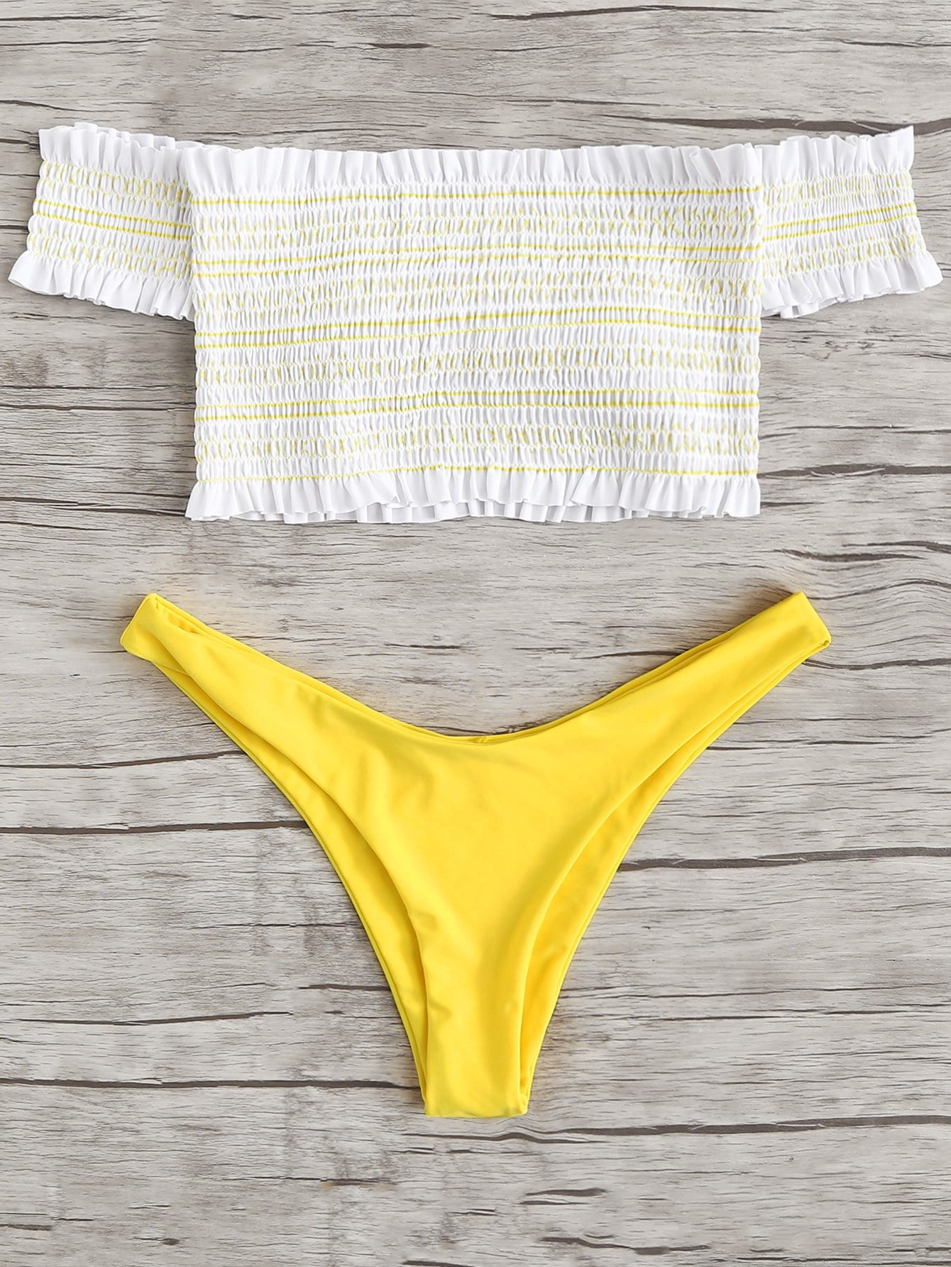 Shirred Off Shoulder Bikini Set