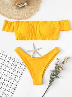 Seam Trim Bardot Top With High Leg Bikini Set
