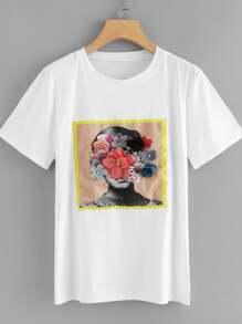 Flower Applique Graphic Tee