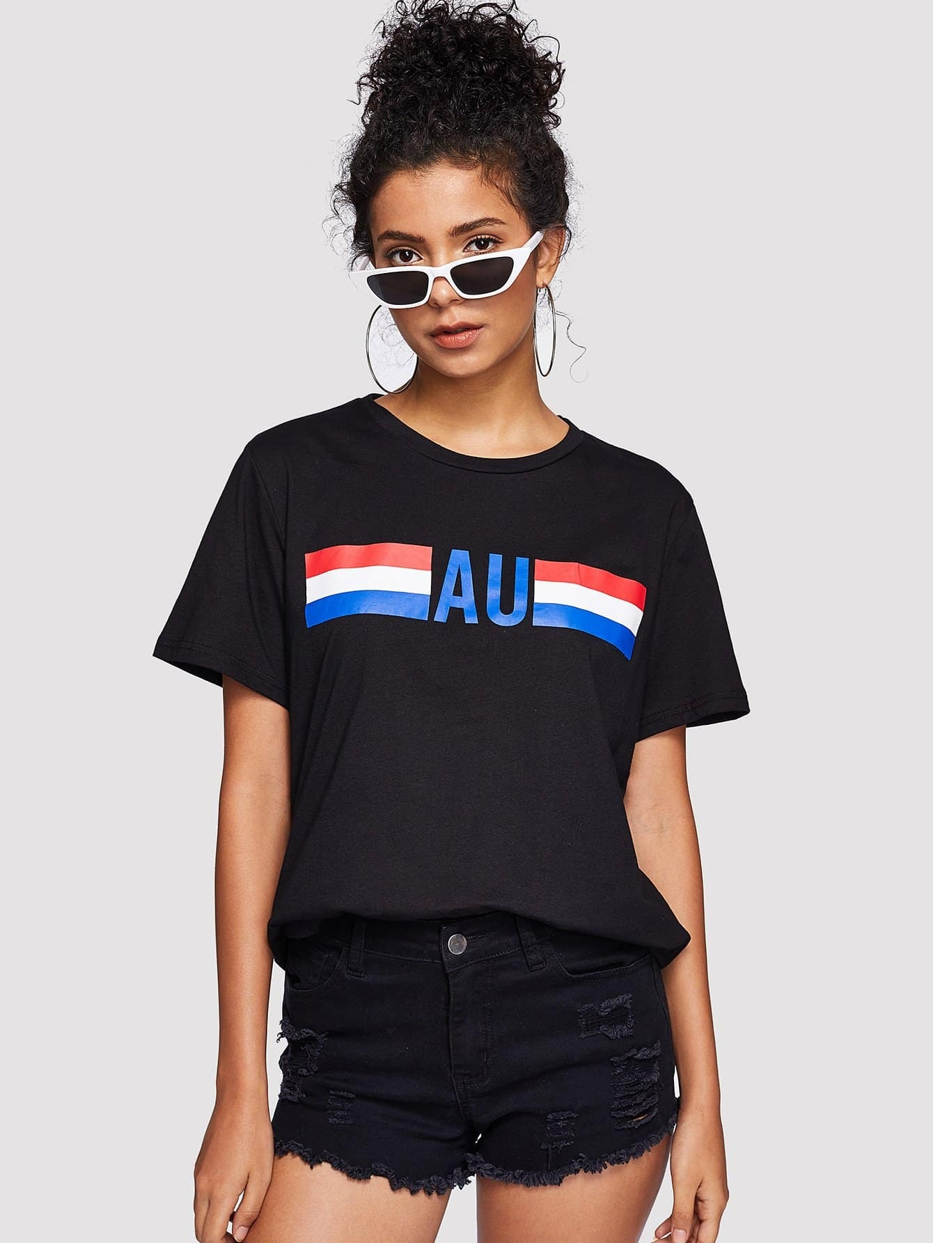 Stripe And Letter Print Tee насос piusi f0033208a