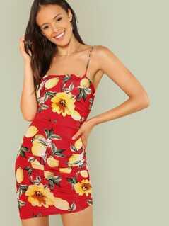 Floral and Lemon Print Ruched Mini Dress