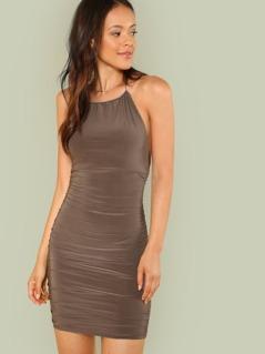 Halter Strap Ruched Mini Dress