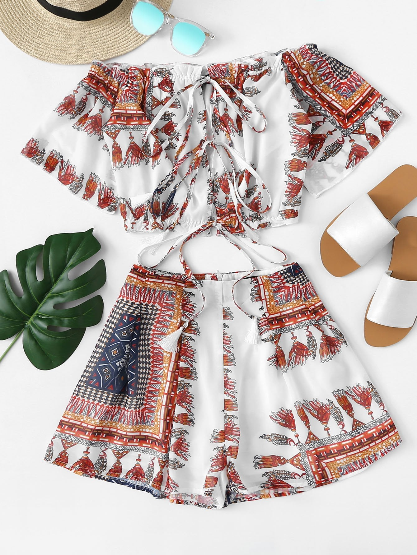 Tribal Print Crop Bardot Top & Shorts Set black choker sleeveless crop top