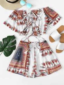 Tribal Print Crop Bardot Top & Shorts Set