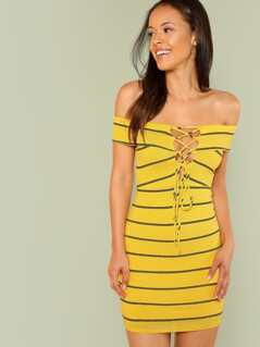Striped Ribbed Knit Bardot Dress with Lace Up Front YELLOW