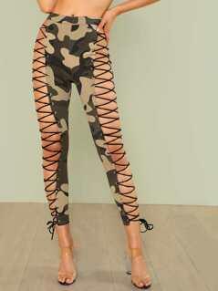 Camo Print Lace Up Skinny Leg Pants