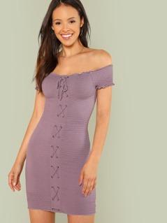 Off Shoulder Smocked Lace Up Dress