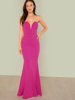 Strapless Sweetheart Neckline Maxi Dress