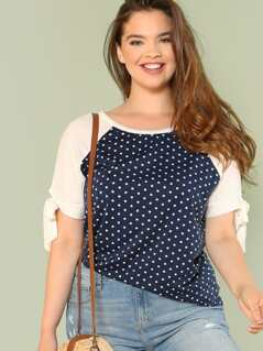 Plus Polka Dot Contrast Blouse with Tie Sleeves