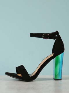 Single Band Metallic Chunky Heel