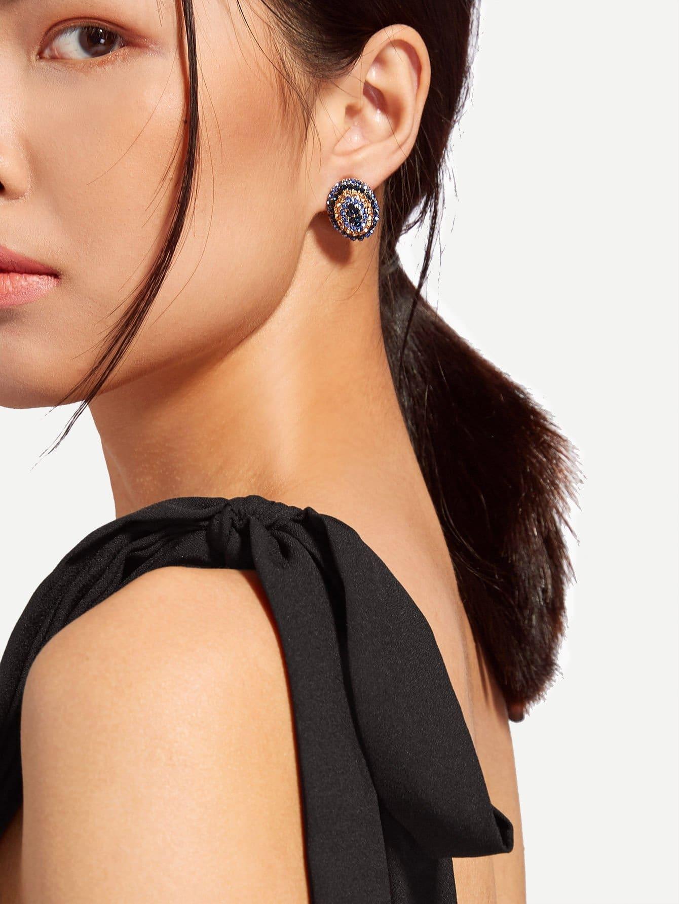 Two Tone Faux Rhinestone Stud Earrings two tone round flake drop earrings