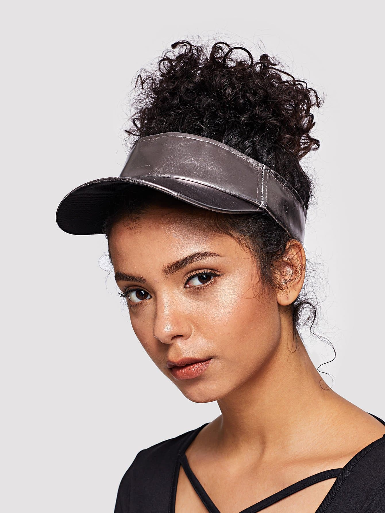 Купить Простая конструкция PU Visor Hat, null, SheIn