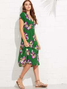 Flower Print High Waist Dress
