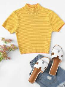 High Neck Crop Striped Knit Top